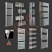 Pre-filled Designer Chrome And Black Electric Heated Towel Rails + Heating Element