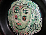 Very Large Dish Mid Century Modern Accolay France Art Pottery Signed .ca.1950's