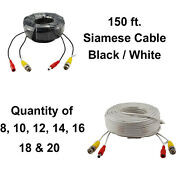 150 Feet Bnc Video + Dc Power Siamese Cable For Cctv Surveillance Camera System