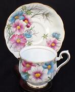 Vintage Royal Albert Bone China England Flower Month Series Cosmos Cup And Saucer