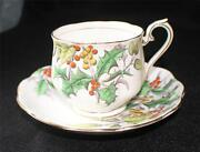 Vintage Royal Albert England Flower Of Month Series Holly Cup And Saucer 12