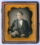1/6 Plate Daguerreotype Photo Of A Man And 289 Holmes Broadway Stamped On Mat