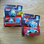 Disney Pixar Cars Ponchy Wipeout And Pitty Bumper Save Diecast Piston Cup Bundle