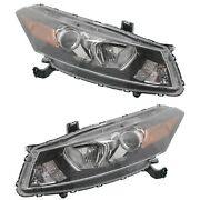 Headlight Set For 2008-2012 Honda Accord Coupe With Amber Turn Signal Light 2pc