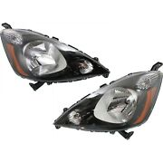 Headlight Set For 2012 2013 2014 Honda Fit Left And Right With Bulb 2pc