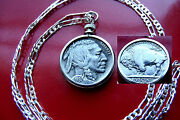 Excellent Handsome 1937 Buffalo Nickel On 30 925 Sterling Silver Chain