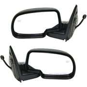 Side View Mirrors Power Heated Smooth Black W/ Puddle Lh And Rh Pair For Chevy Gmc