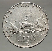 1961 Italy Christopher Columbus Ships Queen Isabella Of Spain Silver Coin I56730