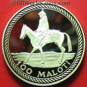 1976 Lesotho 100 Maloti .25oz Gold Proof Independence Equestrian Horse Mint=1400