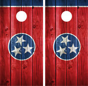 Tennessee State Flag Distressed Wood Vintage Cornhole Board Decal Wrap Wraps