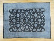9'x12' Hand-knotted Black Overdyed Pure Wool Fine Oriental Rug R31965