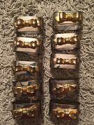 Vintage Lot Of 10 Metal Napkin Rings W/ Decorative Bow, Silver And Gold