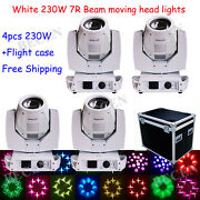 4pcs/ Road Case White Shell 230w 7r Beam Moving Head Lights 8+16 Prisms16/20ch