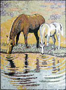 Mother And Baby Horse Water Wild Life Marble Mosaic An352