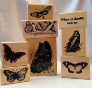 Anita's Butterfly Count Your Blessings When In Doubt Look Up Rubber Stamp 8 Lot