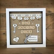 Personalised Frame Our Family Home -our New Home - Hessian Rustic Scrabble Gift