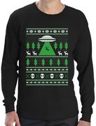 Alien Reindeer Abduction Ugly Christmas Sweater Long Sleeve T-shirt Xmas