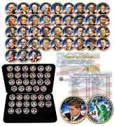 Complete Set U.s. Presidential 1 Dollar 39 Coins - Colorized 2-sided With Box