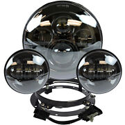 7 Black Led Projector Daymaker Headlight + Passing Lights For Harley Touring Bl