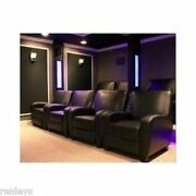 Home Theater Recliner Black Faux Leather Club Chair Lounge Movie Theatre Seats