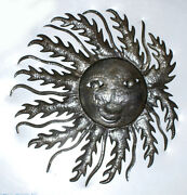 Sun In Fire Wall Hanging Sculpture Recycled Oil Drum Haitian Art Haiti Size 24