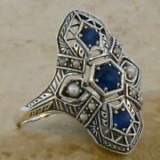 Genuine Sapphire Antique Style .925 Sterling Silver Filigree Ring Size 7 220