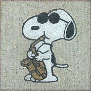 Music Saxophone Playing Snoopy Wall Mural Marble Mosaic An480