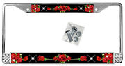 Red Roses On Black License Plate Frame Personalize Gifts Polished Metal Add Text