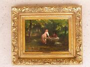 Italian Victorian Painting Of A Flirting Couple By Guiglielmo Innocenti Listed