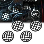 2pcs 72mm Black Checkered Style Anti-slip Cup Holders Coasters For Mini Cooper
