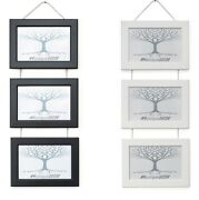 Triple Photo Picture Frame Wall Hanging With Metal Chrome Chain Black Or White