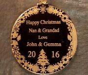 Christmas Tree Decorations To Nan And Grandad Personalised Gold Acrylic Disc
