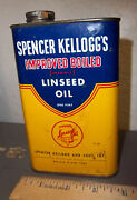 Vintage Spencer Kellogg's Improved Boiled Linseed Oil Tin, Great Colors