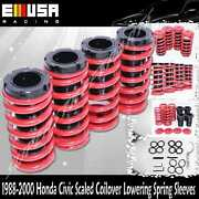 Emusa Coilover Lowering Coil Springs Set For Honda Civic Delsol Crx Red/black