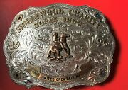 Hollywood Charity Horse Show Sterling Silver Overlay Ruben's Sapphire Buckle