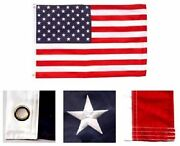 3and039 X 5and039 Embroidered U.s./ Usa American Flag Nylon Brass Grommets Outrigger Clip