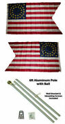 3x5 Union Cavalry Guidon 2ply Flag Aluminum Pole Kit Ball Top 3and039x5and039