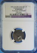 1652 In Obv Oak Tree Six Pence 6p Massachusetts Colonial Ngc 1-a Noe-16 Plugged