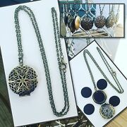 Set Of 10 Antique Brass Essential Oil Diffuser Necklaces Aromatherapy Oils 24