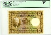 Iceland Andhellip P-36a Andhellip 500 Kronur Andhellip L.1928 Andhellip Vf-xf ... Pcgs35 Vf-xf.