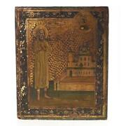 Russian Or Greek Gilt And Polychrome Wood Icon Male Saint W/ Christ Vision