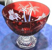 Authentic Magda Nemeth Limited Edition Red Elephant 63 Of 250 Glass Bowl