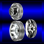 Chrome 3 Pulley Set For Small Block Chevy Short Wp Pulleys Sbc For Ac And Ps
