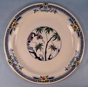 Kenya Blue Dinner Plate Wood And Sons Woods Ware Hand Paint Palm Trees Flower O4
