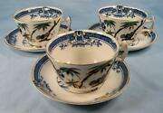 3 Kenya Blue Cup And Saucer Sets Wood And Sons Woods Ware Hand Painted Trees O4