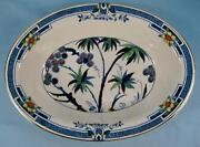 Kenya Blue Oval Vegetable Bowl Wood And Sons Woods Hand Painted Palm Trees O4
