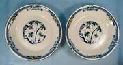 2 Kenya Blue Coupe Soup Bowls Wood And Sons Woods Ware Hand Painted Trees O4
