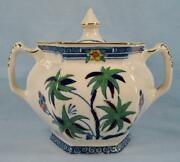 Kenya Blue Sugar Bowl And Lid Wood And Sons Woods Ware Hand Painted Palm Trees O4