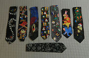 Eight 8 Colorfulwalt Disney Loony Tunes Neck Ties In Excellent Condition