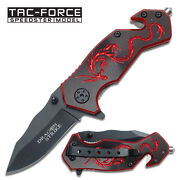 6 Red Dragon Tac Force Spring Assisted Folding Knife Blade Pocket Open Switch